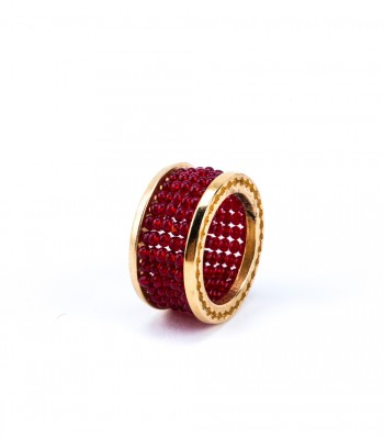 Gold-Plated Bronze Ring with Red Crystals