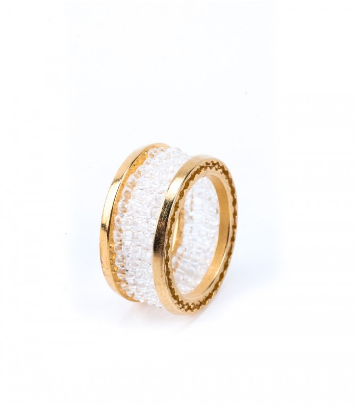 Gold-Plated Bronze Ring with Clear Crystals