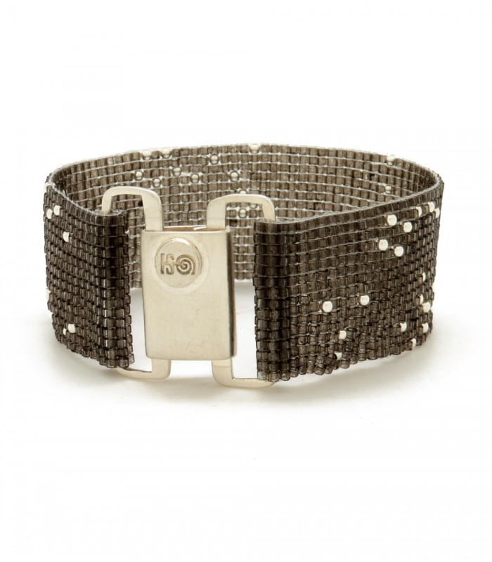 Constellations Upsala Wide Bracelet in Sterling Silver and Crystal Beads in Dark Grey