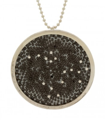 Constellations Upsala Large Necklace in Sterling Silver and Crystal Beads in Dark Grey