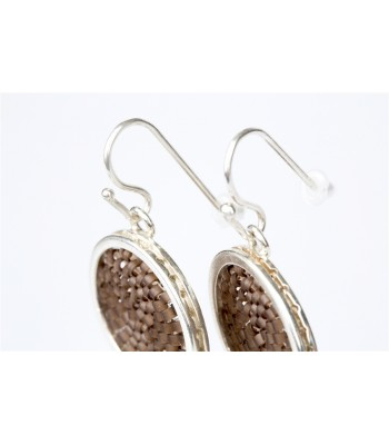 Upsala Small Earrings in Sterling Silver and Crystal Beads in Brown
