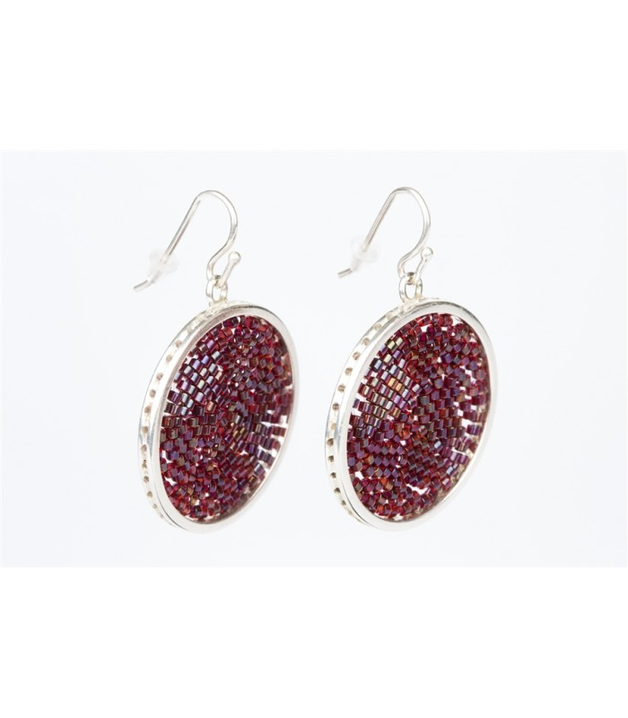 Uspala Small Earrings in Sterling Silver and Crystal Beads in Burgundy