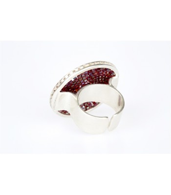 Upsala Medium Ring in Sterling Silver and Crystal Beads in Burgundy