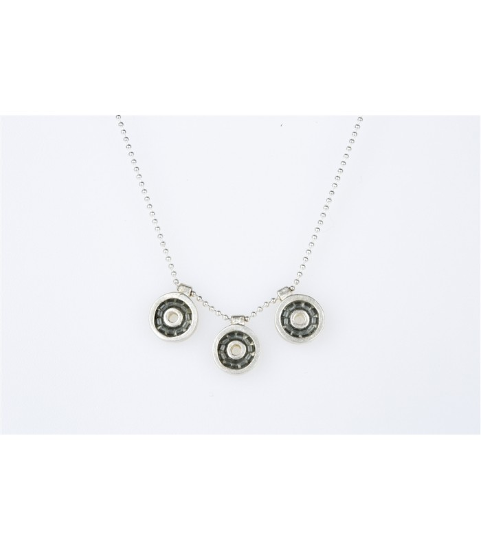 Iris Necklace with Chain and Crystal Beads in Gray