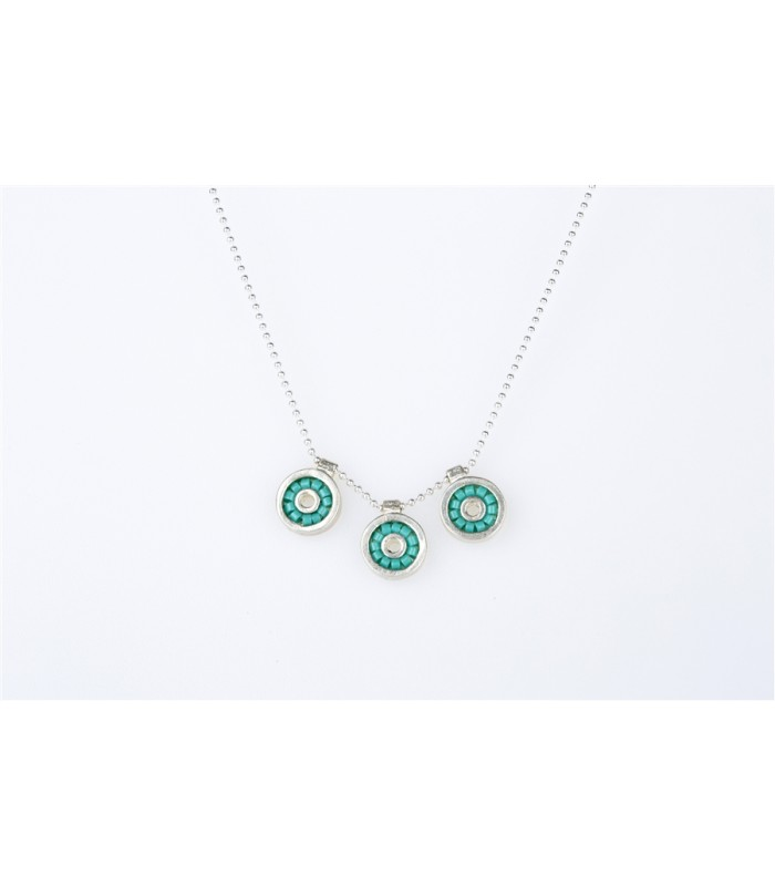 Iris Necklace with Chain and Crystal Beads in Turquoise