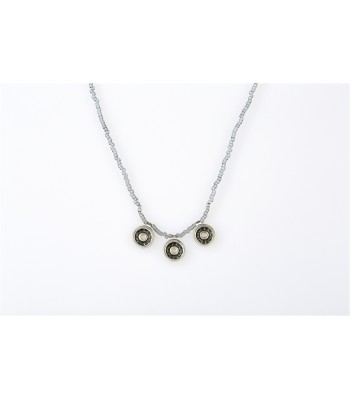 Iris Long Necklace with Crystal Beads in Gray