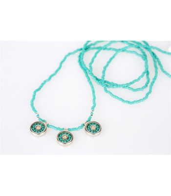 Iris Long Necklace with Crystal Beads in Turquoise