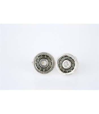Iris Stud Earrings in Sterling Silver and Crystal Beads in Gray