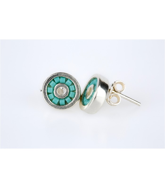 Iris Stud Earrings in Sterling Silver and Crystal Beads in Turquoise