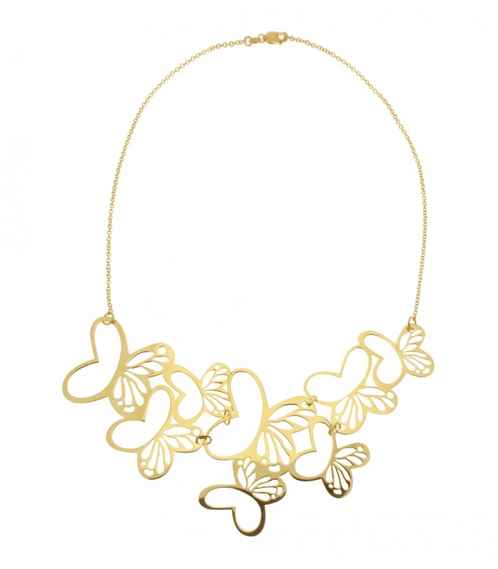 Tanya Moss Gold Multi Monarch Butterfly Necklace