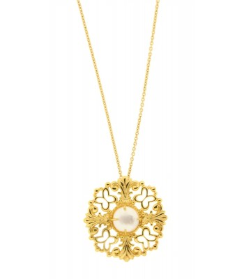 Tanya Moss Gold Tresor Pendant with Pearl