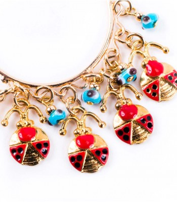Hoop Earrings with Ladybugs and Eye Good Luck Charms