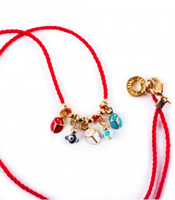 Lady Bug and Eyes Necklace in a Red Strand