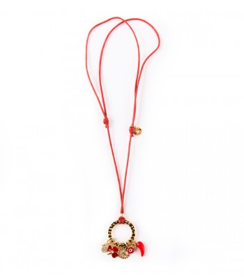 Hoop with Good Luck Charms Necklace in a Red Strand