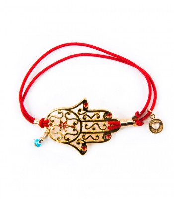 Red Leather Bracelet with a Metal Openwork Hand