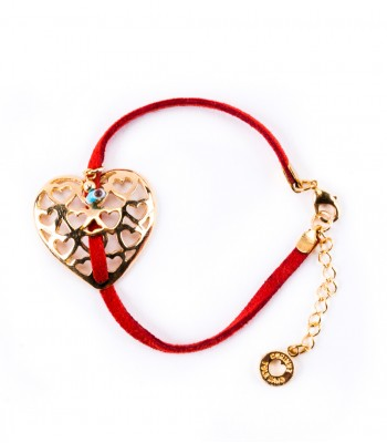 Leather Bracelet with Metal Openwork Heart