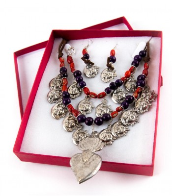 Milagritos Necklace, Bracelet and Earring Set with Purple Beads and Red Beans