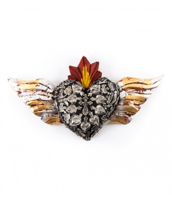 Handcrafted Wooden Milagritos Heart with Wings