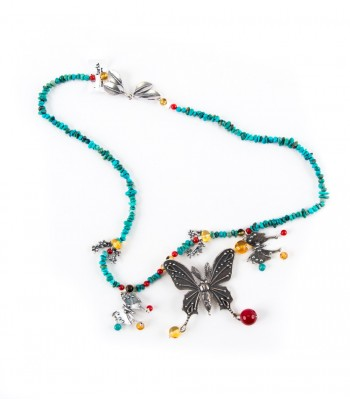Butterfly in the Night in Silver, Turquoise, Amber and Coral Necklace