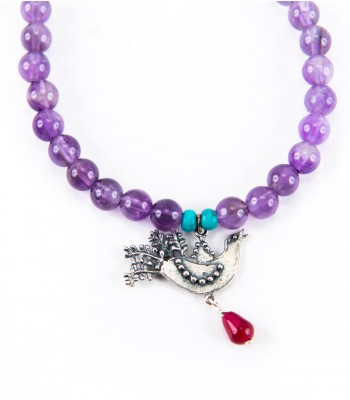 Bird in Silver with Purple Beads Bracelet