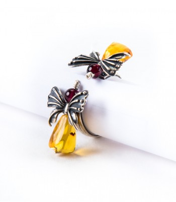 Butterflies in Silver with Amber and Coral Ring