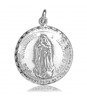 Mini convex Virgin silver medallion with antique legend