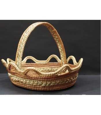 Hand-woven Natural Medium Ocoshal Basket with Handle