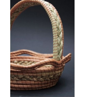 Hand-woven Natural Small Ocoshal Basket with Handle
