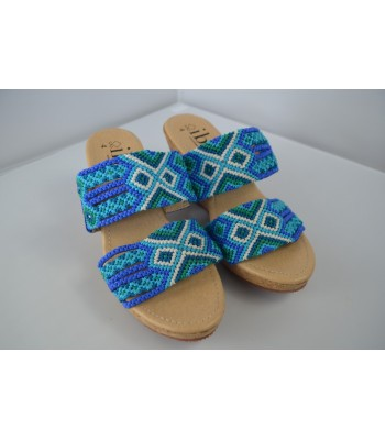 "Melba 1 wedge sandals in blue with 1.57"" sole, handmade in San Juan Chamula. Size 7"