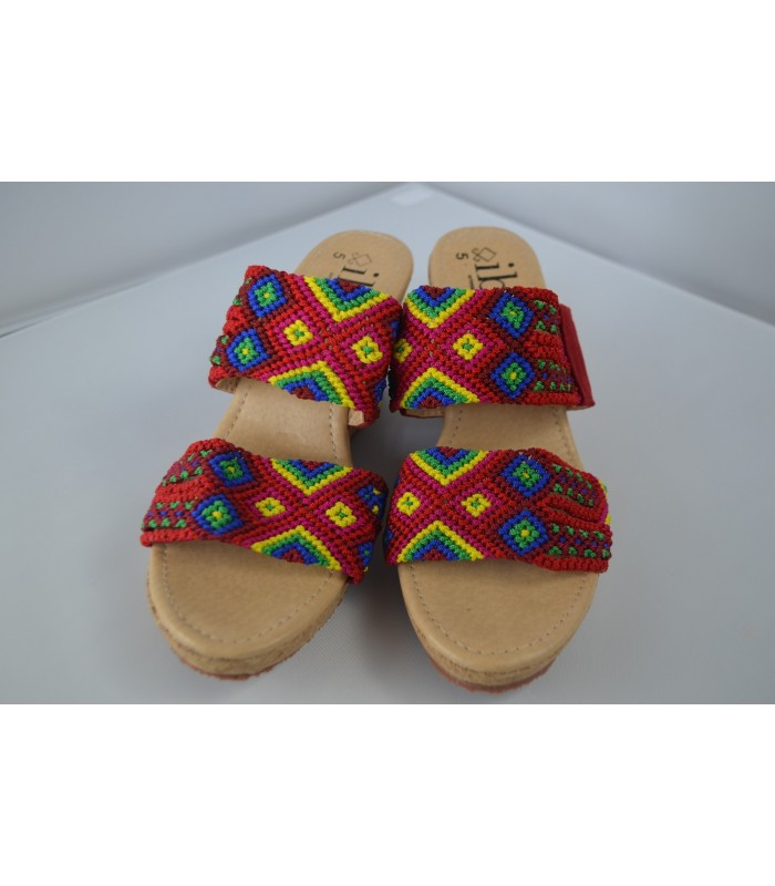 "Melba 2 wedge sandals in red with 1.57"" sole, handmade in San Juan Chamula. Size 8"