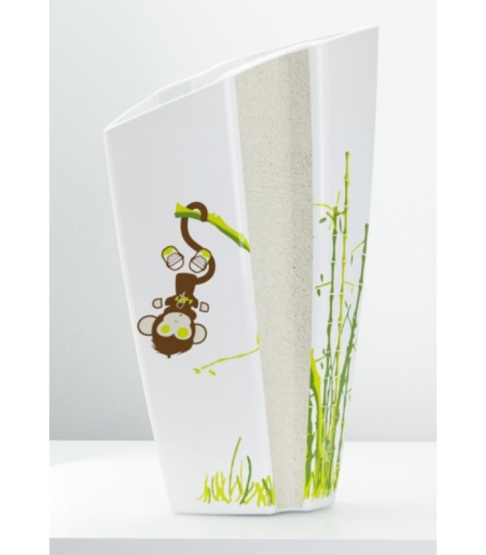 White Ceramic Vase with Monkey Decal