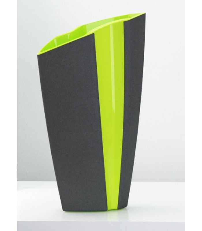 Gray Sanded-Finish Ceramic Vase with Yellow Accent