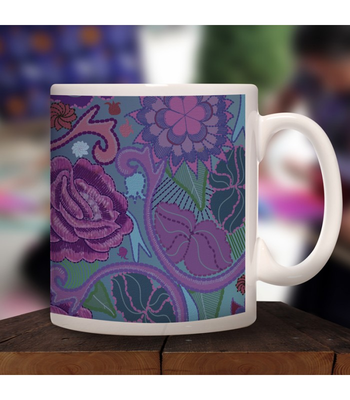 Zinacantán collector's mug in ceramic with designs representing Chiapas textile styles.