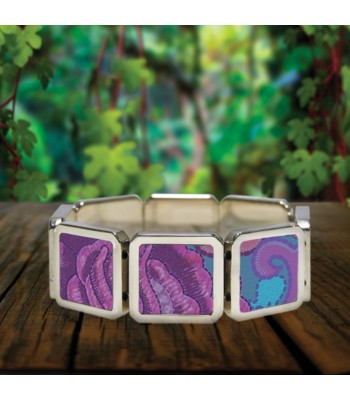 Zinacantán bracelet in stainless steel with designs representing Chiapas textile styles.