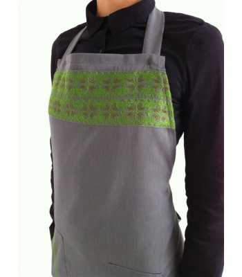 Gray Apron with Hand Embroidered Motifs from Yucatan in Green and Brown