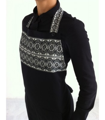 Black Apron with Hand Embroidered Medallions from Puebla in Black