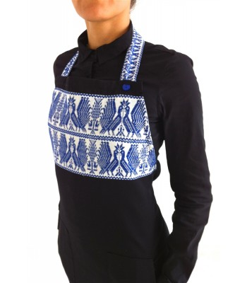 Black Apron with Hand Embroidered Turkeys from Puebla in Blue