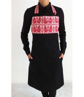 Black Apron with Hand Embroidered Turkeys from Puebla in Red